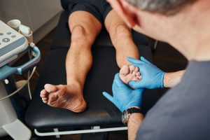 a podiatrist performing the test